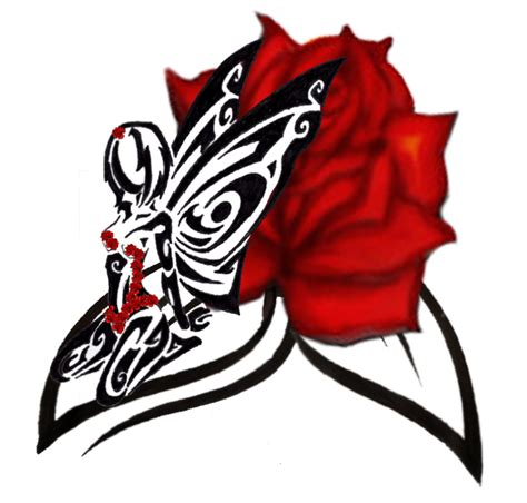 fairy and rose tattoo tribal by biancab1 on deviantart