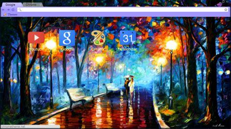 chrome themes rain rain rustle leonid afremov chrome theme themebeta