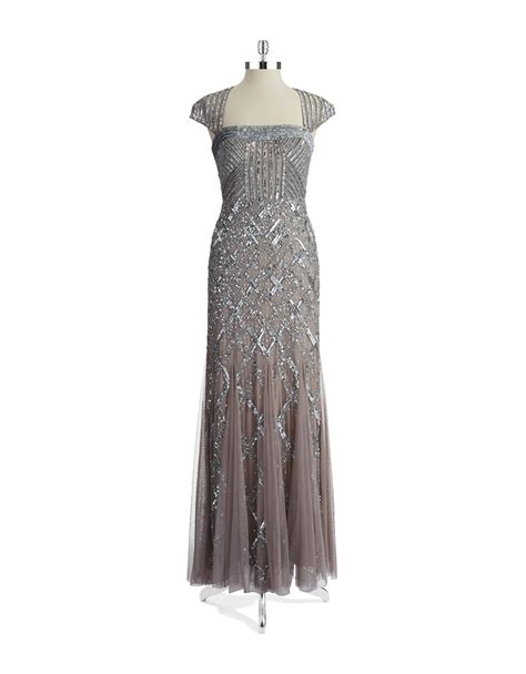 silver beaded gown papell beaded cap sleeve gown in silver lyst