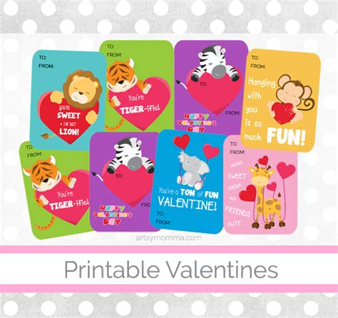 printable animal valentines day cards printable candy saying just b cause