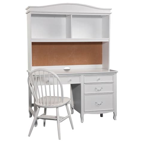 Emma Pedestal Desk With Hutch In White Rosenberryrooms Com White Hutch Desk