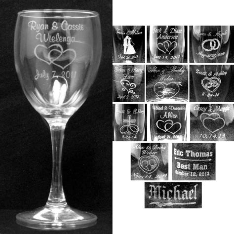 personalized barware gifts set of 2 personalized wine glasses laser engraved wedding party custom gifts ebay