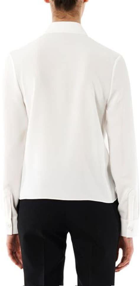 drape neck blouses balenciaga drape neck crepe blouse in white lyst