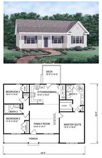 ranch homeplan 45476 has 1258 square feet of living