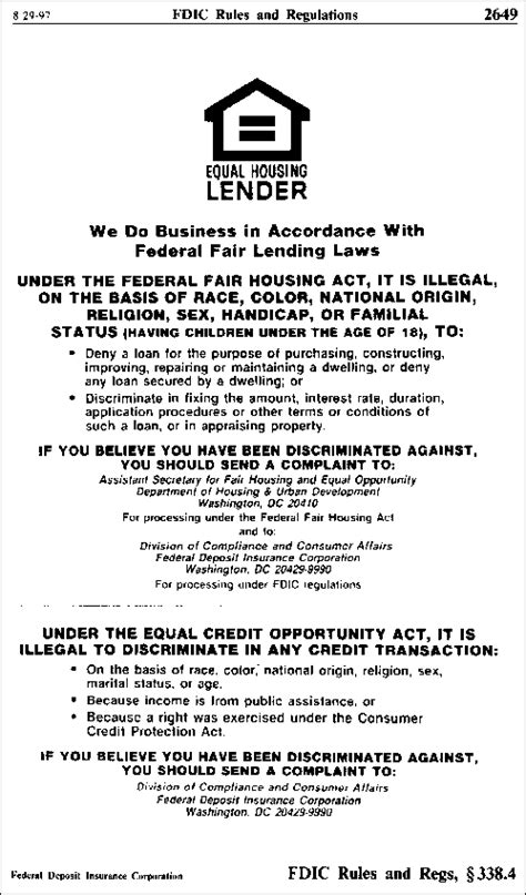 printable fair housing poster fdic law regulations related acts rules and regulations