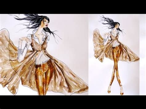 fashion illustration rendering techniques transparent fabrics with floral pattern fashion