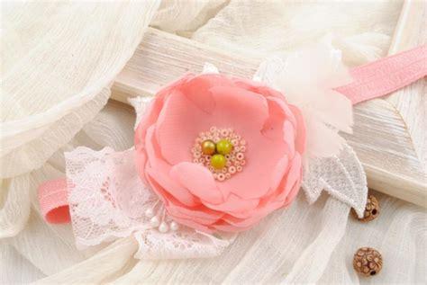 pink baby headband vintage inspired headband chiffon pink flower headband flower headband baby hair bow