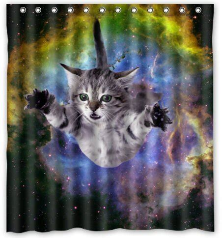 cat proof shower curtain space cat water proof polyester fabric 66 quot x 72 quot shower