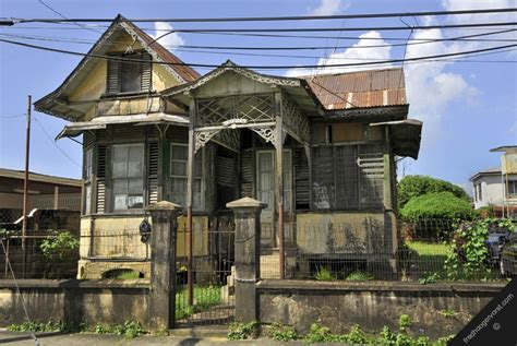 Trinidad Caribbean Port Of Spain Street View Old House Houses In Tobago