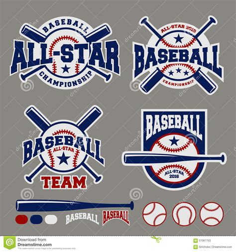 Set Of Baseball Sport Badge Logo Design Template Stock Vector Image 57087753 Baseball T Shirt Design Templates