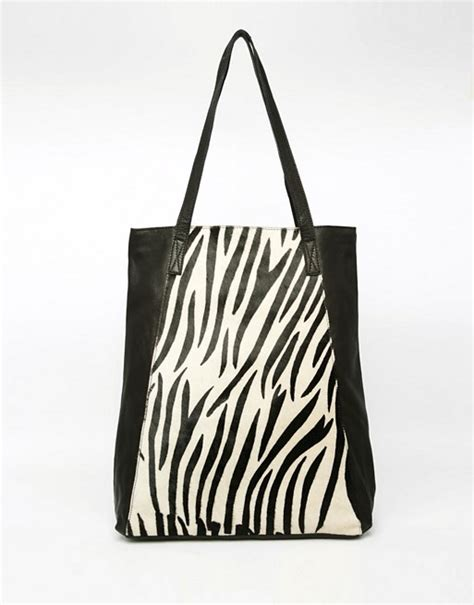 asos asos zebra leather shopper bag
