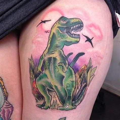 new school dinosaur tattoo school style illustrative dinosaur on thigh