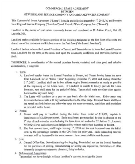 printable commercial lease agreement lease agreement form template