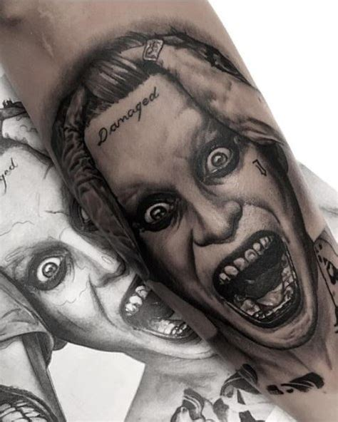 black and grey joker tattoo jared leto joker suicide squad tattoo inkstylemag