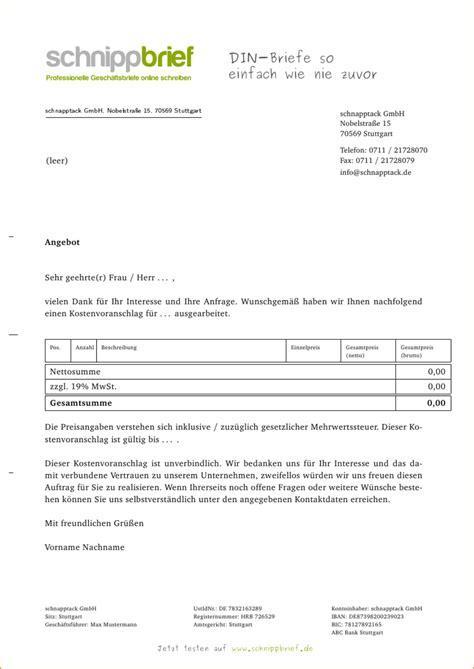 Muster Angebot Zeitarbeit 5 Kostenvoranschlag Vorlage Bewerbungsschreiben