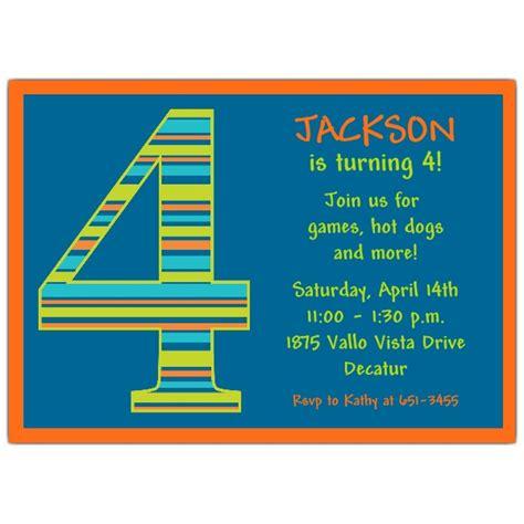 Invitation Fourth Birthday Card Templates by Birthday Boy Stripes 4th Birthday Invitations Paperstyle