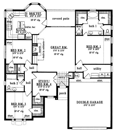 4 bed house plans 4 bedroom bungalow house plans 4 bedroom tudor bungalow 1