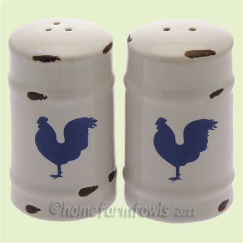 ceramic enemel look salt amp pepper set home farm fowls