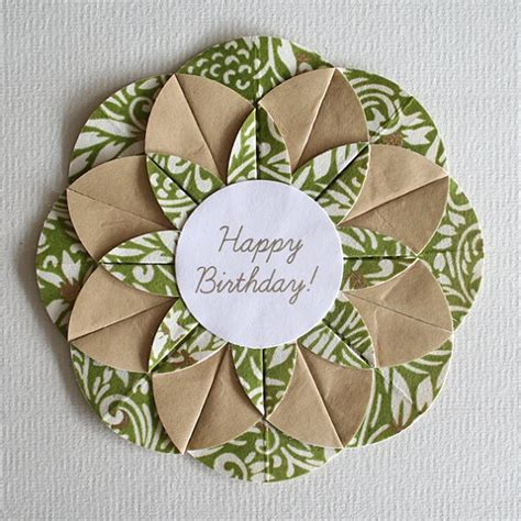 Birthday Origami Card - green swirls origami happy birthday card cards