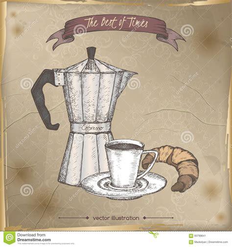 vintage espresso maker vintage moka espresso maker and coffee cup color sketch
