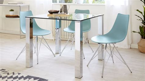 small glass dining table square glass dining table for 4 chrome legs danetti uk