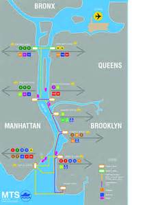 East River New York Map by Aqua Scape New York City Maritime Transit Service