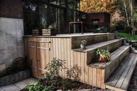 holz türen treppe terrasse design