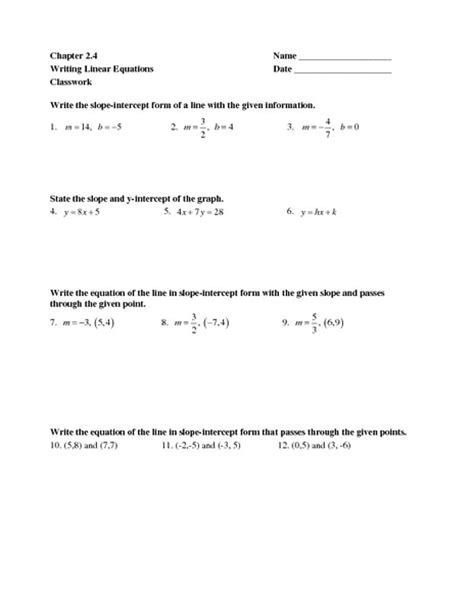 printable math worksheets linear equations writing equations worksheet lesupercoin printables worksheets