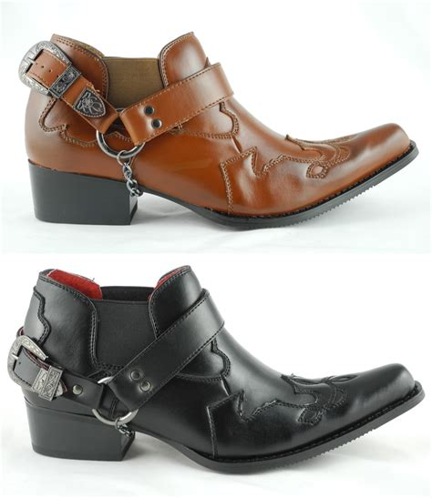 mens leather boots with buckles mens leather look cowboy western harness chain buckle