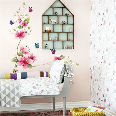 beautiful pink flower wall art stickers living room 3d pink flowers with butterflies wall decal fathead look