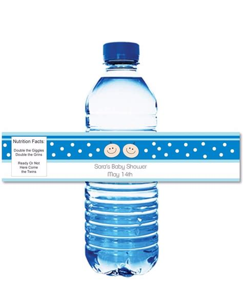 printable blue baby shower water bottle labels printitbaby print it baby