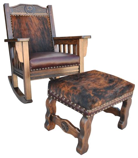 Cowhide Rocking Chair - western rocking chair cowhide southwestern