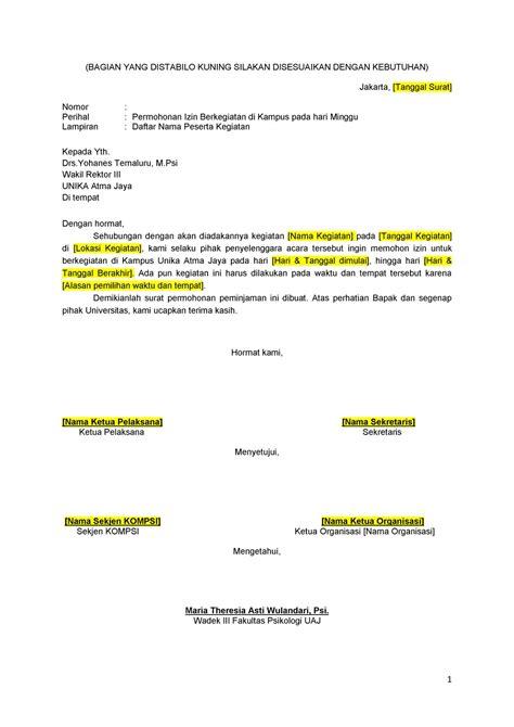 kompsi news surat permohonan izin berkegiatan di hari