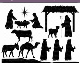 nativity scene silhouette pattern free new calendar