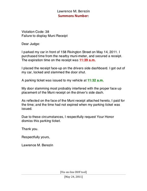 Appeal Letter To Waive Parking Sle Letter Contesting A Parking Ticket Sle Business Letter