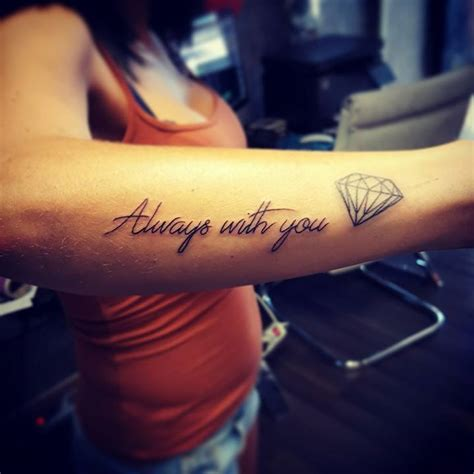 diamond tattoo lettering always with you lettering tattoo with diamond symbol