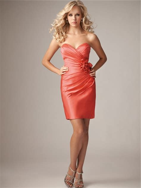 Sexy sheath/column sweetheart mini/short coral silk