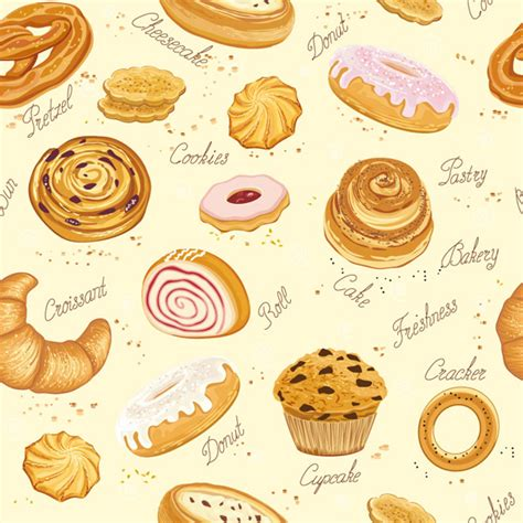 Cookies Desserts And Bread Seamless Pattern Vector Over Millions Vectors Stock Photos Hd Cookie Website Template