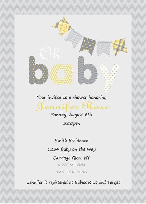 grey and yellow baby shower invites yellow and gray baby shower invitation print your own