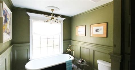olive green bathroom omg this bathroom i love the crown molding and the