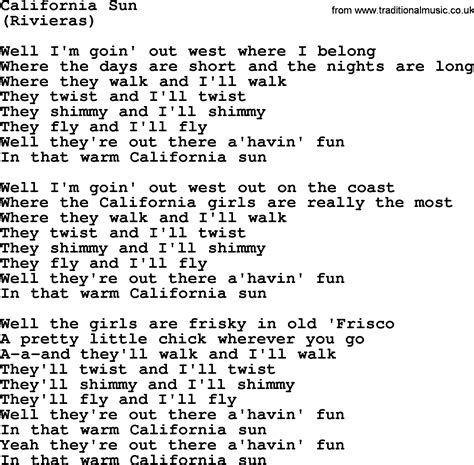 testo california bruce springsteen song california sun lyrics
