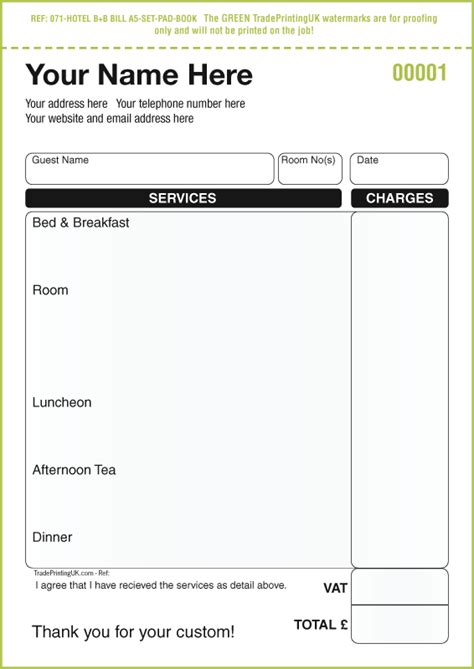 receipt pad template hotel and restaurant waitress order forms ncr pads template