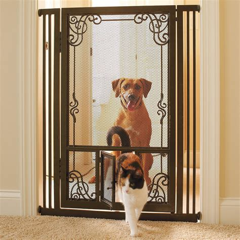 Gate With Pet Door by 42 Quot H Tension Mount Dual Door Steel Mesh Pet Gate Gate