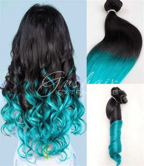 light cylinder hair extensions light turquoise ombre human hair extensions black to blue