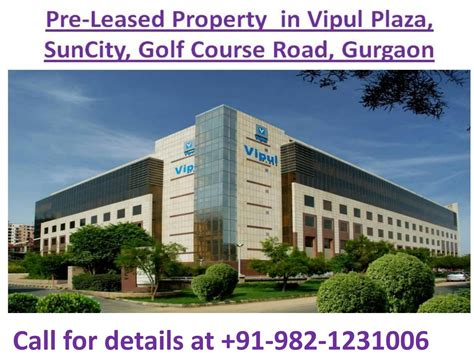 pre leased property  sale  vipul plaza suncity golf