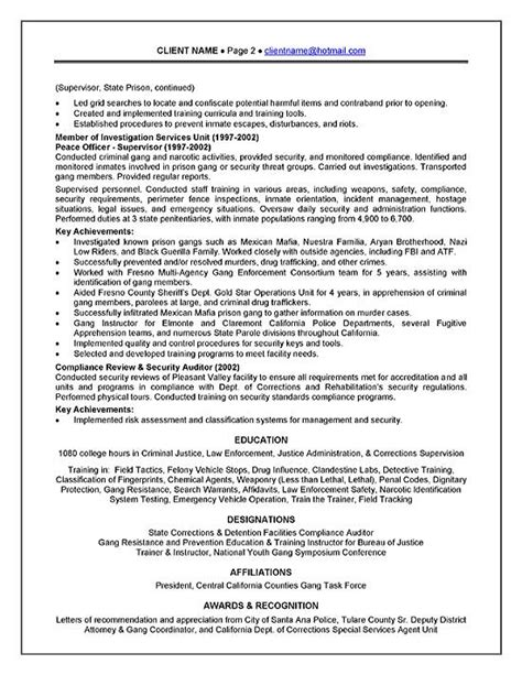 Prisoner Officer Sle Resume by Corrections Officer Resume Exle
