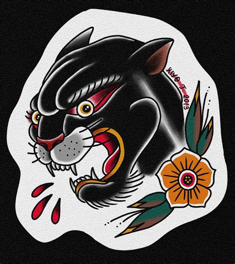 tattoo old school panther old school panther with blood drops and flower tattoo