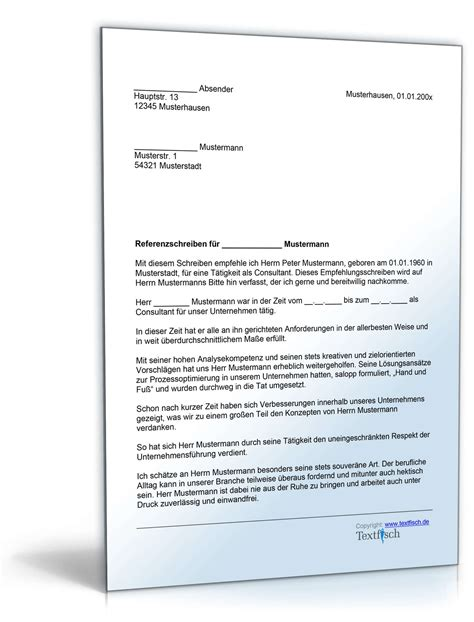 Brief In Schweiz Dauer Referenzschreiben F 252 R Einen Consultant Musterbrief Zum