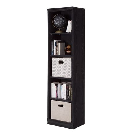 south shore 5 shelf narrow bookcase in black oak