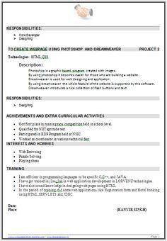 Best Resume Sles For B Tech Freshers resume template of a computer science engineer fresher